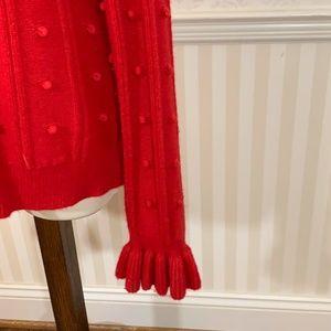 kate spade Sweaters - Kate Spade New York Red Ruffle Yoke Sweater